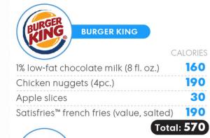 child menu calories
